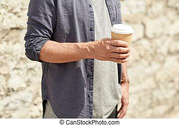 關閉, ......的, 人, 由于, 紙, 咖啡茶杯, 上, 街道