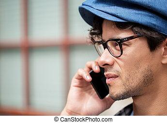 關閉, ......的, 人, 由于, smartphone, 叫, 上, 街道