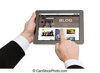 關閉, ......的, 人, blogging, 上, 小塊pc
