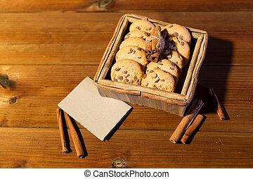 關閉, ......的, 燕麥, 甜面包, 以及, 卡片, 上, 木製的桌子