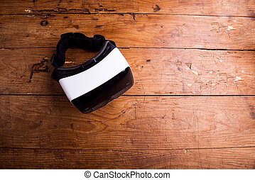 關閉, ......的, 虛擬現實, 風鏡, 上, 木製的桌子