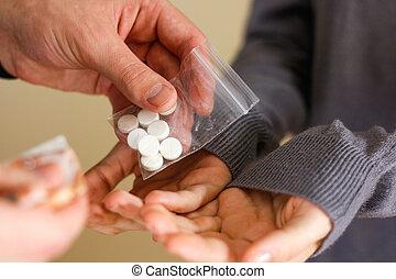 關閉, ......的, 迷戀者, 由于, 錢, 購買, 劑量, 從, dealer., 毒品交通, 罪行, 癮, 以及, 銷售, 概念