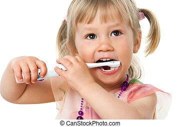 關閉, 肖像, ......的, 漂亮, 女孩, 刷, teeth.