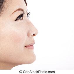 關閉, 臉, ......的, a, 美麗, 亞洲的女人, 被隔离, 在懷特上, 背景