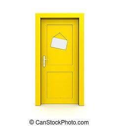 關閉, 黃色的門, 由于, 奶嘴, 門, 簽署
