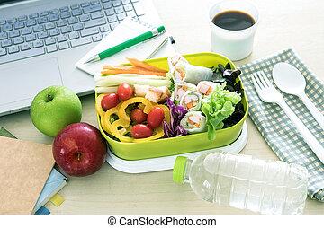 關閉, the, 綠色, 午飯盒, 上, 工作地點, ......的, 工作, 書桌, 吃, 打掃, 食物, 習慣, 為, 飲食, 以及, 保健, 概念