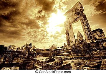 门口, 在中, 寺庙, 毁灭