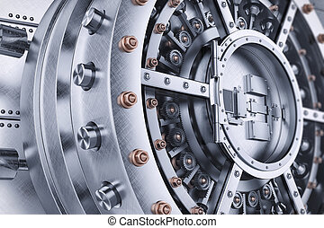 门, 保险箱, 机制, closeup, 拱顶, 打开, 银行, 3d