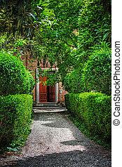 门, 在中, a, 美丽, 意大利语, 花园