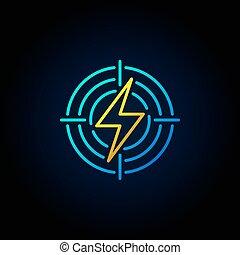 闪电, 目标, 色彩丰富, 图标
