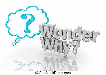 问题, 描述, 标记, 想, 问, 奇迹, 为什么, 云, 3d