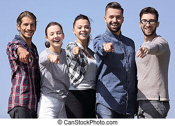 队, 在中, 年轻人, 显示, 手转交