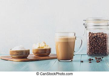 防弾, mct, 混ぜられる, oil., 有機体である, コーヒー, バター, ココナッツ