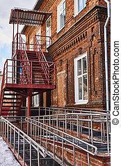 防火梯, 附加, 現代大樓, 無能力, 斜坡梯, 老