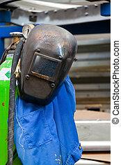 防護服, a, 溶接工, 中に, ∥, 金属企業