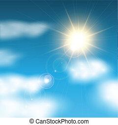 阳光充足, 蓝的天空