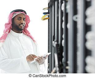 阿拉伯語, 商人, 由于, 片劑, 在, 辦公室