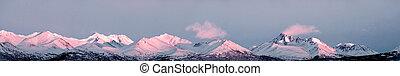 阿拉斯加, 山高峰, 全景