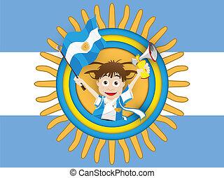阿根廷, 足球, 迷, 旗, 卡通