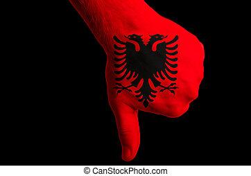阿爾巴尼亞, 拇指, 政治, 國家, 文化, 消極, 手, 下來, 旗, 管理, 社會, 國家, 符號, 姿態, 上色