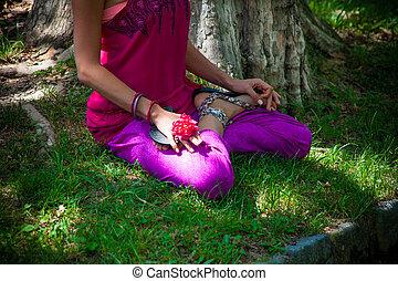 降低, 女人身体, 在, 蓮花, 瑜伽 姿勢, 戶外, 實踐, 在公園, 所作, the, 湖