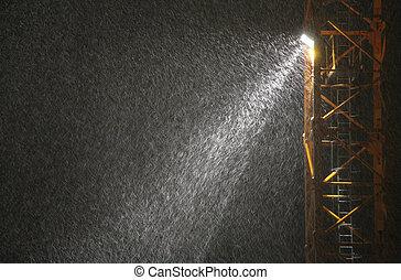 降雪, 在, 橫樑, ......的, 放映機, 夜間