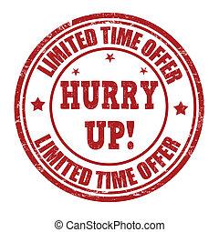 限られた, 切手, 提供, の上, 時間, 急ぎ