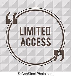 限られた, 概念, 単語, ビジネス, テキスト, access., 数, 執筆, アクセス, ポイント, 限られた, 小さい, かなり, 持つこと