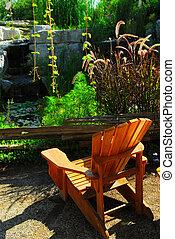 院子, 以及, 池塘, 景觀美化