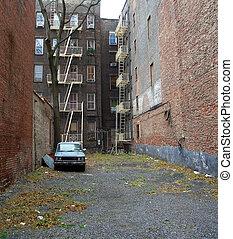 院子, 曼哈頓, 約克, 新, 被放棄