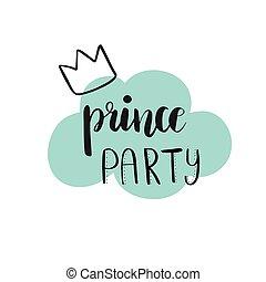 陣雨, 黨, 新娘, 王子, 卡片, design.