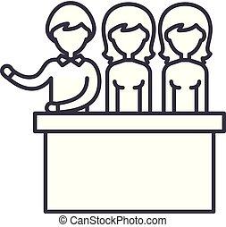陪審, 線である, イラスト, concept., シンボル, 裁判, ベクトル, 線, 印, アイコン