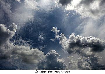 陰沉, 遮蓋的天空, 多雲, clouds., 背景, 天空