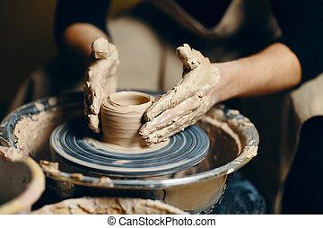 陶器の 車輪, potter's, ワークショップ, 粘土, モデリング