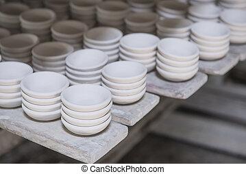 陶器, ある, 乾燥, 火, 粘土, 前に, セラミックス