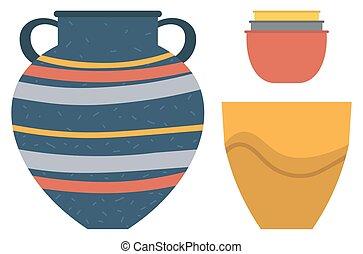 陶器, 花, kitchenware., つぼ, ポット, ボール, 粘土