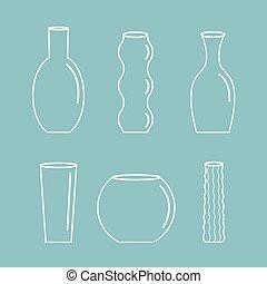 陶器, 青, セット, アウトライン, 平ら, セラミック, つぼ, 装飾, ガラス, 花, デザイン, 背景, アイコン