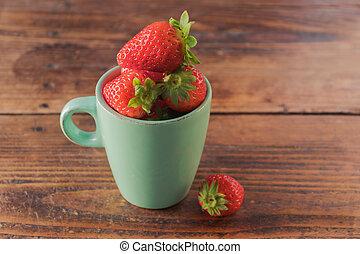 陶瓷器, 充足, 红, 草莓, 杯