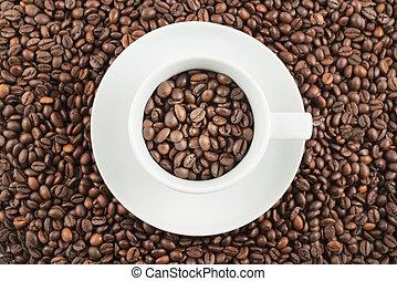 陶瓷, 咖啡, 充足, 大豆, 杯