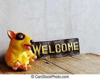 陶瓷, 狗, 由于, 歡迎簽署, 上, 木制, 背景