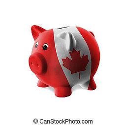 陶瓷, 豬一般的銀行, 由于, 畫, ......的, 國旗