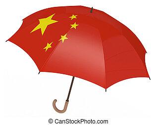 陶磁器の旗, 白人の洋傘, 隔離された