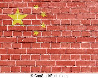 陶磁器, 政治, concept:, 中国の旗, 壁