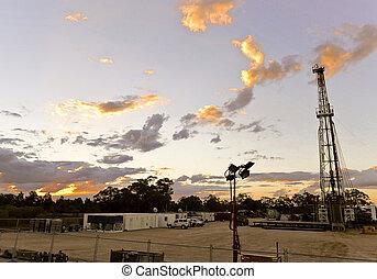 陸地, 鑽油臺, 在, 傍晚