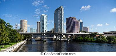 陸戰隊, 船船, 運河, 市區, 城市, 地下鐵道, 地平線, tampa, 海灣, 佛羅里達