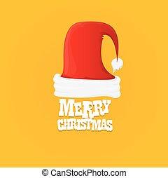 陽気, カード, santa, クリスマス帽子, vector., 赤