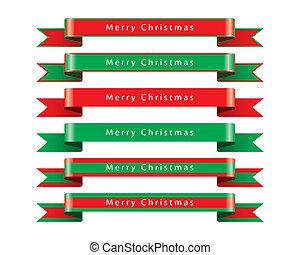 陽気, ベクトル, セット, クリスマス, リボン
