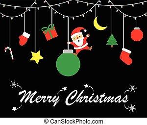 陽気, ボール, 振動, claus, -, santa, クリスマス