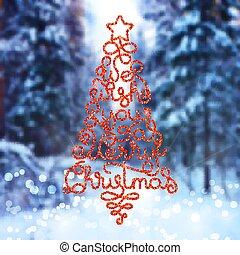 陽気, レタリング, 私達, 休日, 形態, 贈り物, 願い, 木, 手, 背景, 写真, あなた, ぼんやりさせられた, クリスマスカード