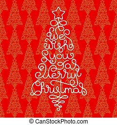 陽気, レタリング, 私達, 形態, 贈り物, 願い, 木, 手, カード, 背景, あなた, 休日, クリスマス, 赤